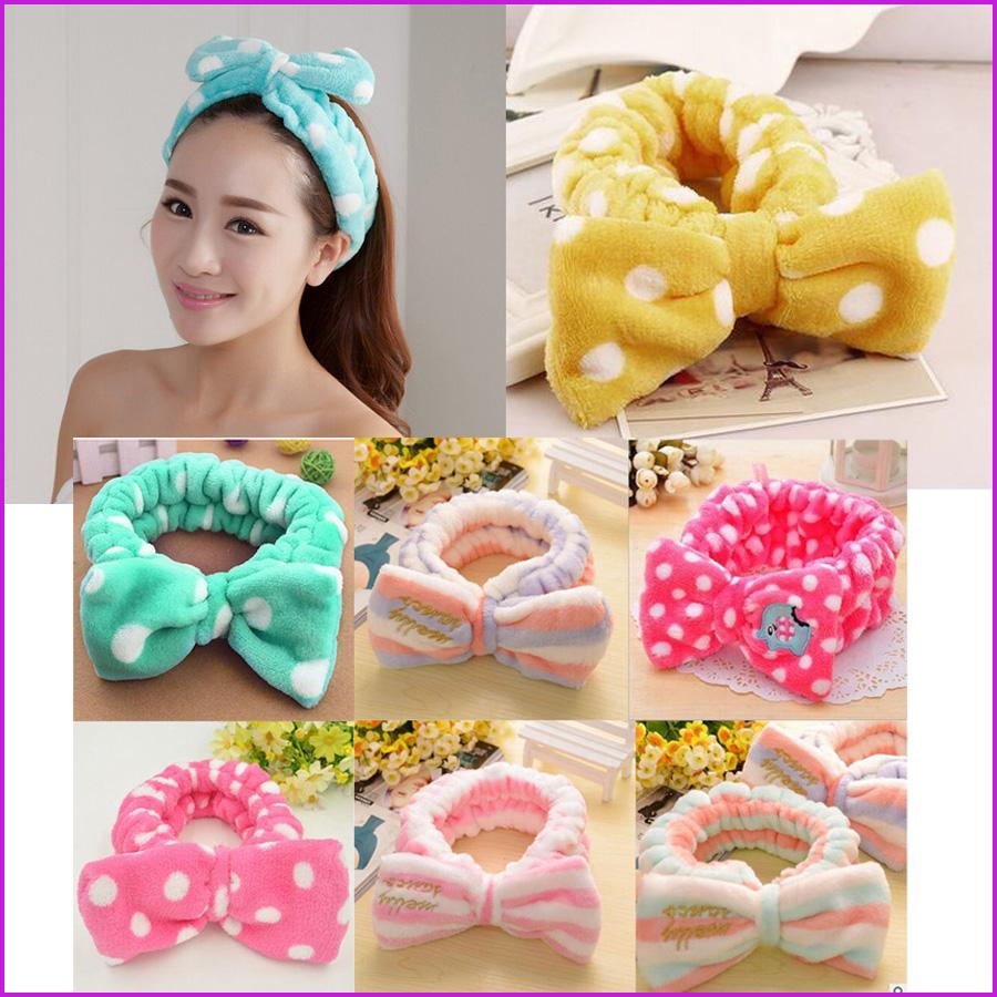 Women Bow Style Flannel Face Makeup Wash Hair Band Movement Towel ... fb0a7b57c147