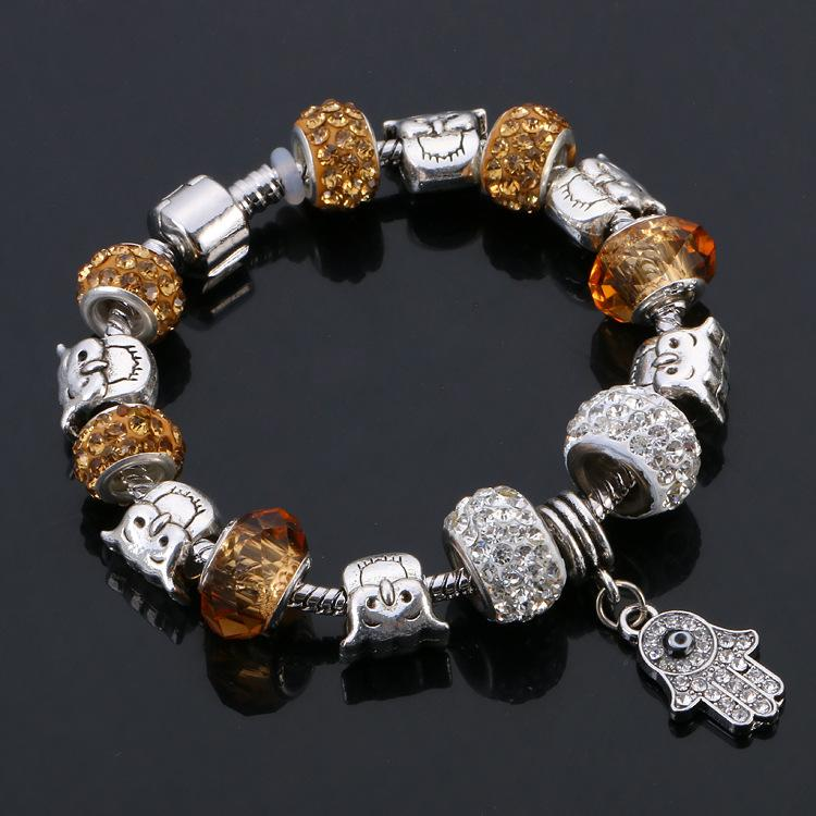 Stainless Steel Animal Jewelry Silver Plating Owl Beads Crystal Natural Stone Bead Bracelet Women Wedding Charms Jewelry