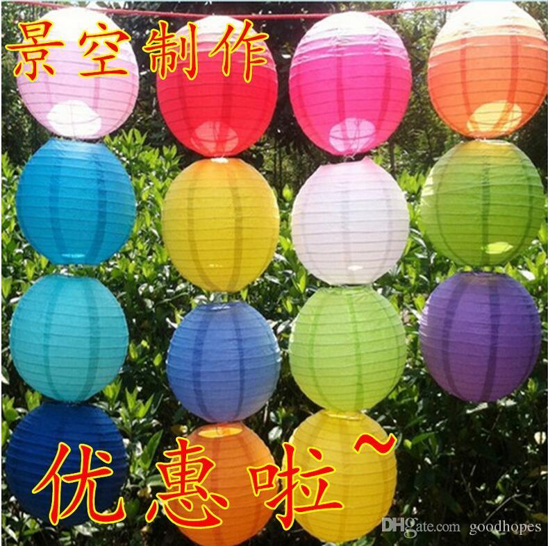 Vendita calda Lanterna di carta cinese Festa di nozze Decorazione di Natale fai da te Assortito da 8-14 pollici con i Lanterne rotonde ZWZ * 5