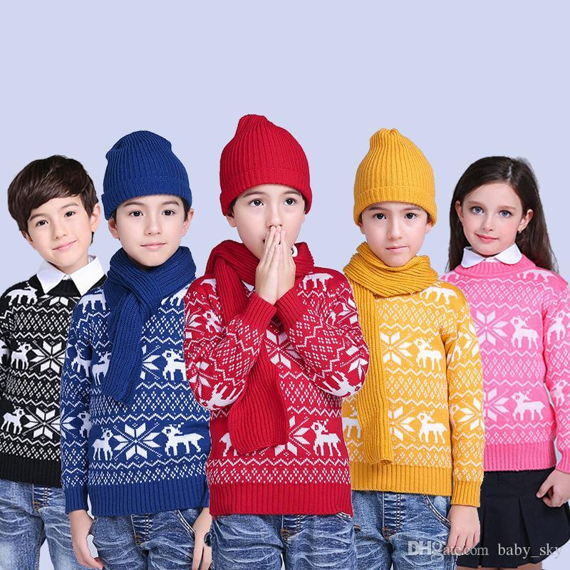 Christmas Sweater Elk Snowflake Autumn Winter Children Pullover ...