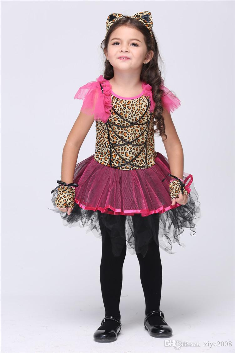 Kids Dresses Halloween Cat Girl Cosplay Costumes Girls Fancy Ball Leopard Printed Dancing Pink Tutu Dresses Headdress Gloves Stage Outfits Four People ...  sc 1 st  DHgate.com & Kids Dresses Halloween Cat Girl Cosplay Costumes Girls Fancy Ball Leopard Printed Dancing Pink Tutu Dresses Headdress Gloves Stage Outfits