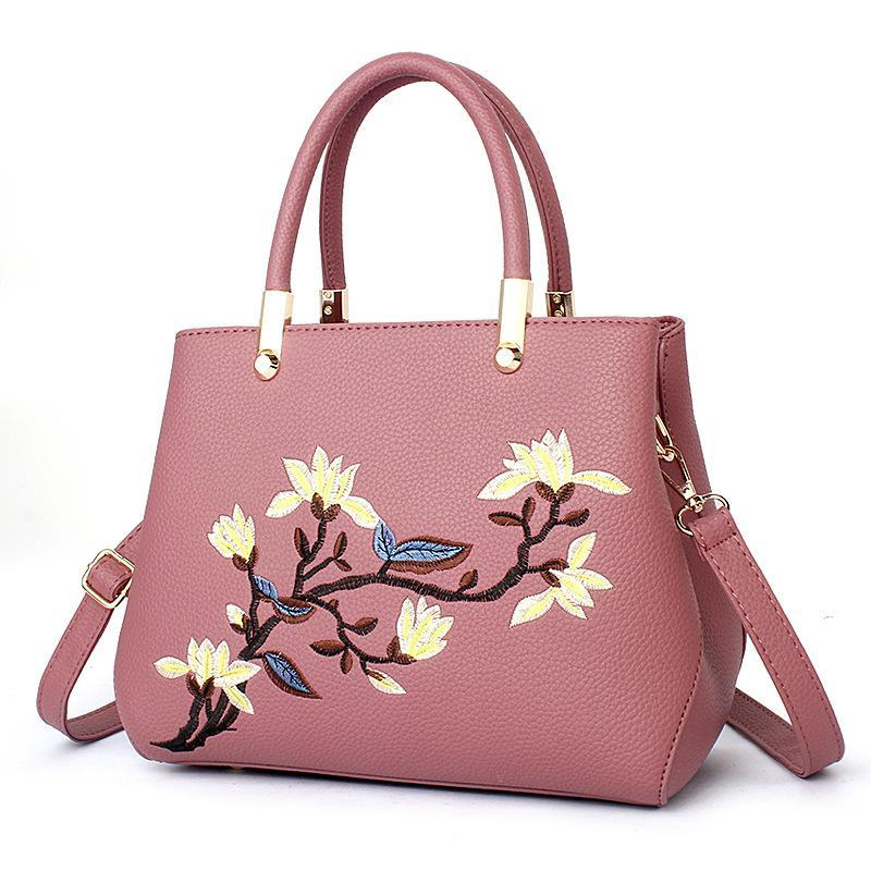 Women Handbags Pu Leather New Embroidery Designer Ladies Fight Color
