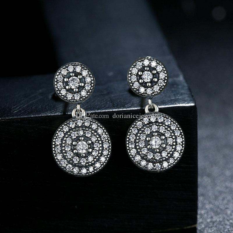 Genuine 925 Sterling Silver Radiant Elegance Drop Earrings with two Discs Vintage Women Jewelry ER072