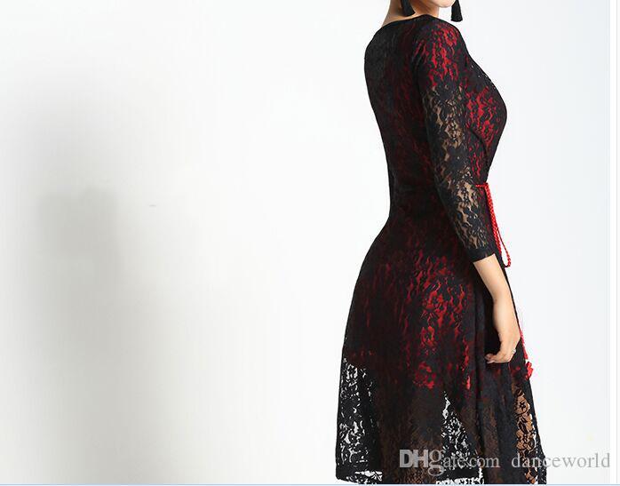 2018 novo elegante salão de manga longa rendas roupas de dança latina capa para as mulheres / feminino / menina / senhora, traje top desempenho outerwear dancewear