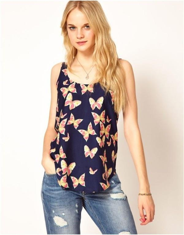 42016619f3216 2019 Women Butterfly Print Sleeveless Chiffon Tank Top Shirts Crew Vest Hot  Sale Plus Size S Xxl Women Tops From Millow01