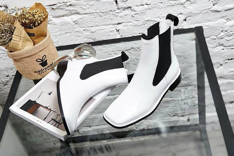 high quality~u671 34/40 genuine leather flat short boots black white square head casual luxury designer runway fashion brand