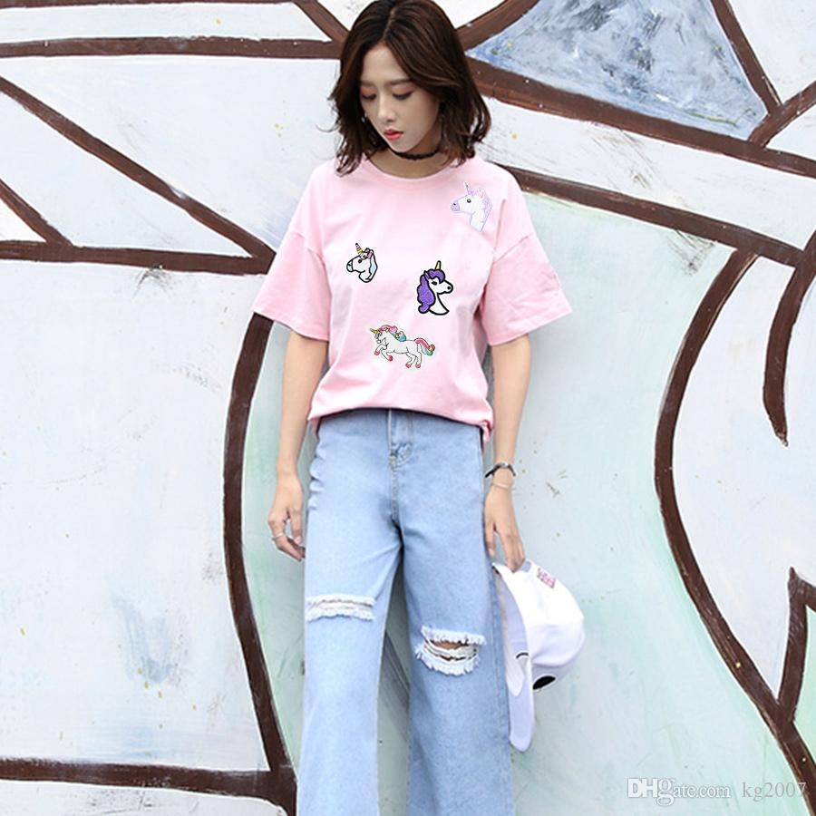 10 ADET Unicorn Yamalar Giyim Çanta Için Demir Transferi Aplike Yama Elbise Kot Için DIY Nakış Çocuklar için Dik Dikmek Çocuklar Fantezi Çıkartmalar