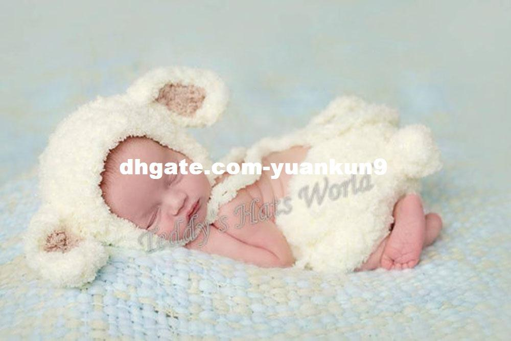 7dc38ac7b9265 2019 Newborn Baby Clothings Shower Sheep Hat Overalls Set Baby Photography  Prop Handmade Crochet Knitted Costume Baby Gift Animal Backpack From  Yuankun9