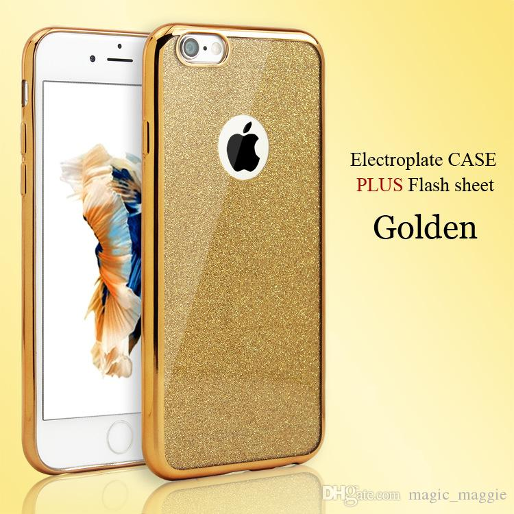 Glitter Paillette Bling Powder Back Cover Electroplating Bumper Soft TPU Back Cases Ultra Thin Mobile Phone Cases for Iphone5 Iphone6 6plus