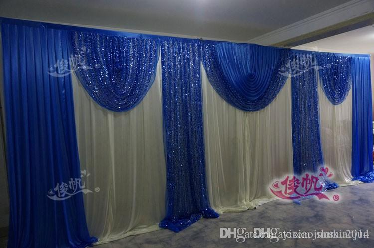 10x20ft white and royal blue wedding backdrop swag overlay background curtain