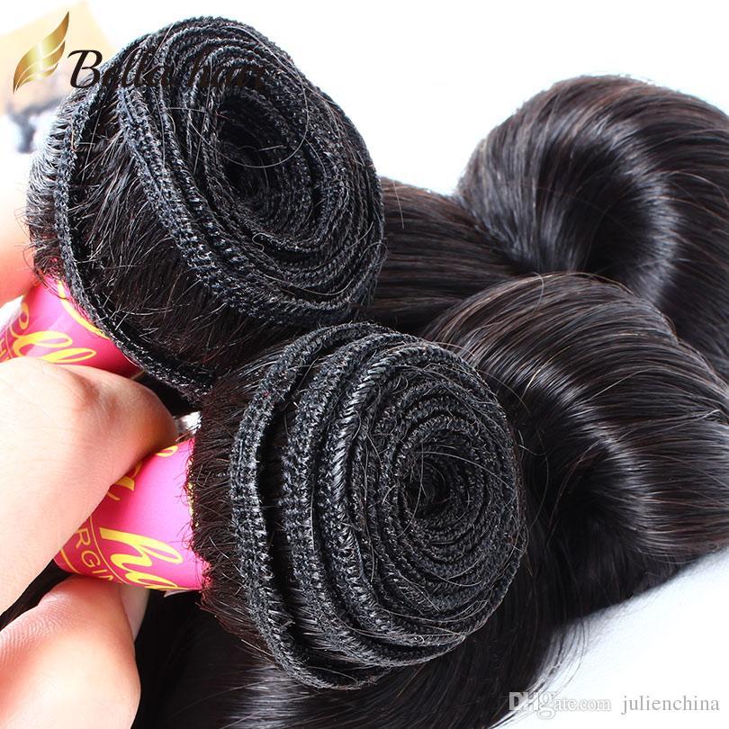 100% mänskligt hår väv 9a indiskt hårförlängning 3st / mycket naturlig svart färg vågig lös våg hår buntar gratis frakt bella hår