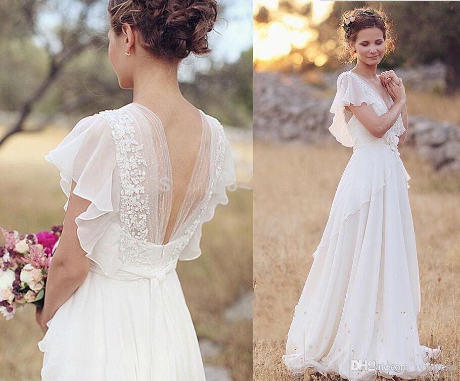 Discount Bohemian Wedding Dresses Pearls Deep V Neck Backless