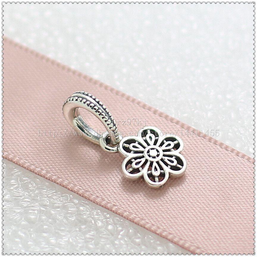 Novo 2016 Primavera 925 Sterling Silver Floral Daisy Lace Dangle Charme Talão Se Encaixa Jóias Europeus Pulseiras Colar