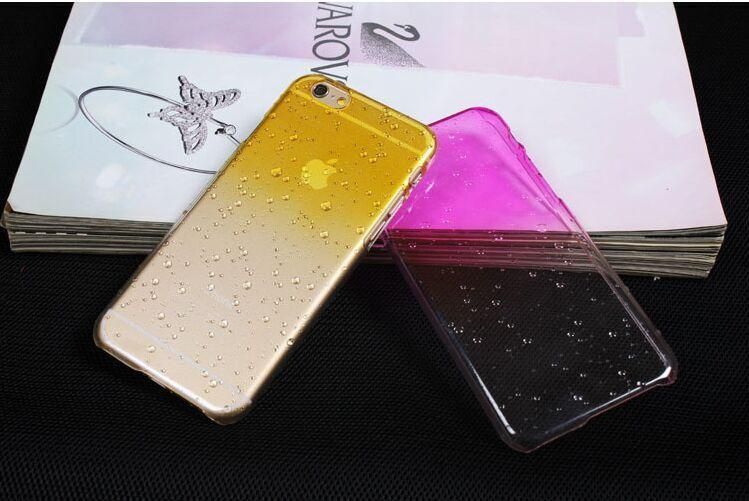 for iphone6 plus 3D gradient effect Rainbow raindrops droplets transparent silicone Phone Case