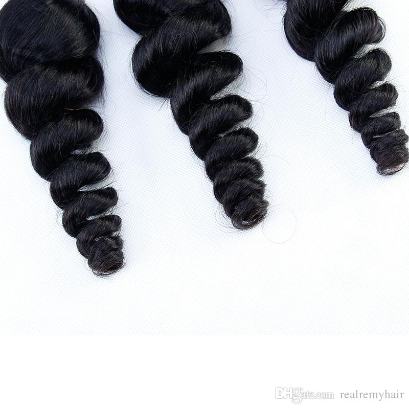 Brazilain Virgin Hair Loose Wave Human Bundles With Closure Cheap Human Hair Wefts Weave Extensions With Closure Natural Color Hair Vendors