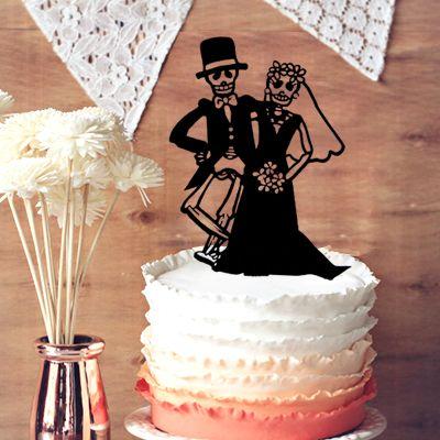 2018 Wedding Cake Topper Halloween Decor, Skeleton Wedding Cake Topper,  Unique Cake Topper Couple In Halloween Wedding Decoration From Kaishihui,  ...