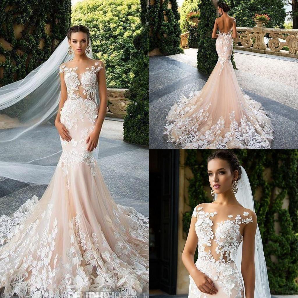 c54edf5ae34 Milla Nova 2018 Blush Pink Cap Sleeve Sheath Wedding Dresses Sheer Neck Lace  Appliques Illusion Plus Size Backless Bridal Gowns Wedding Gown Wedding  Dress ...