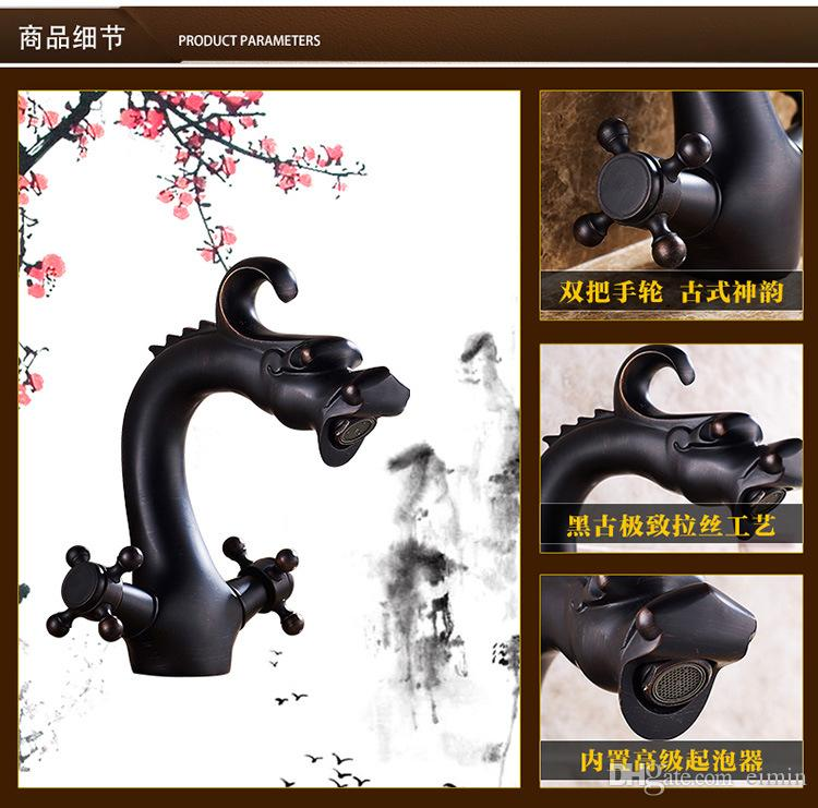 Wholesale and retail Copper basin faucet Kitchen & bathroom faucet Black dragon Style European-style Do old vintage Bronze