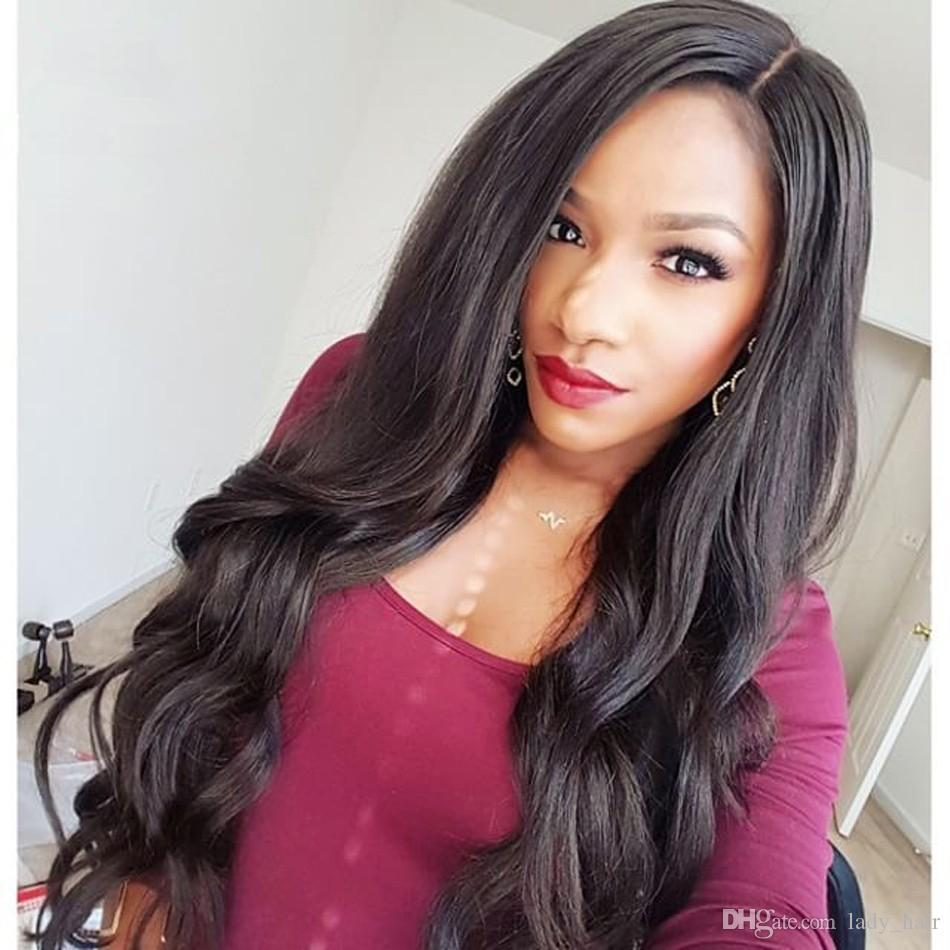 """Virgin Indian Body Wave Wavy Lace Front Human Hair Wigs 8-32"""" Middle Part Glueless Full Lace Human Hair Wigs 130% Density Bleached Knots"""