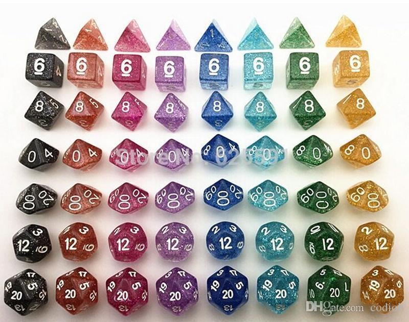 Jeu de dés polyhédral en poudre flash Jeu de RPG Ensembles de dés Jeux Dice D4 D6 D8 D12 D20 D10 0-9 D10 00-90 / set # D5