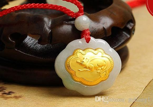 Gold inlaid jade ChangMingSuo Chinese zodiac mouse charm necklace pendant talisman