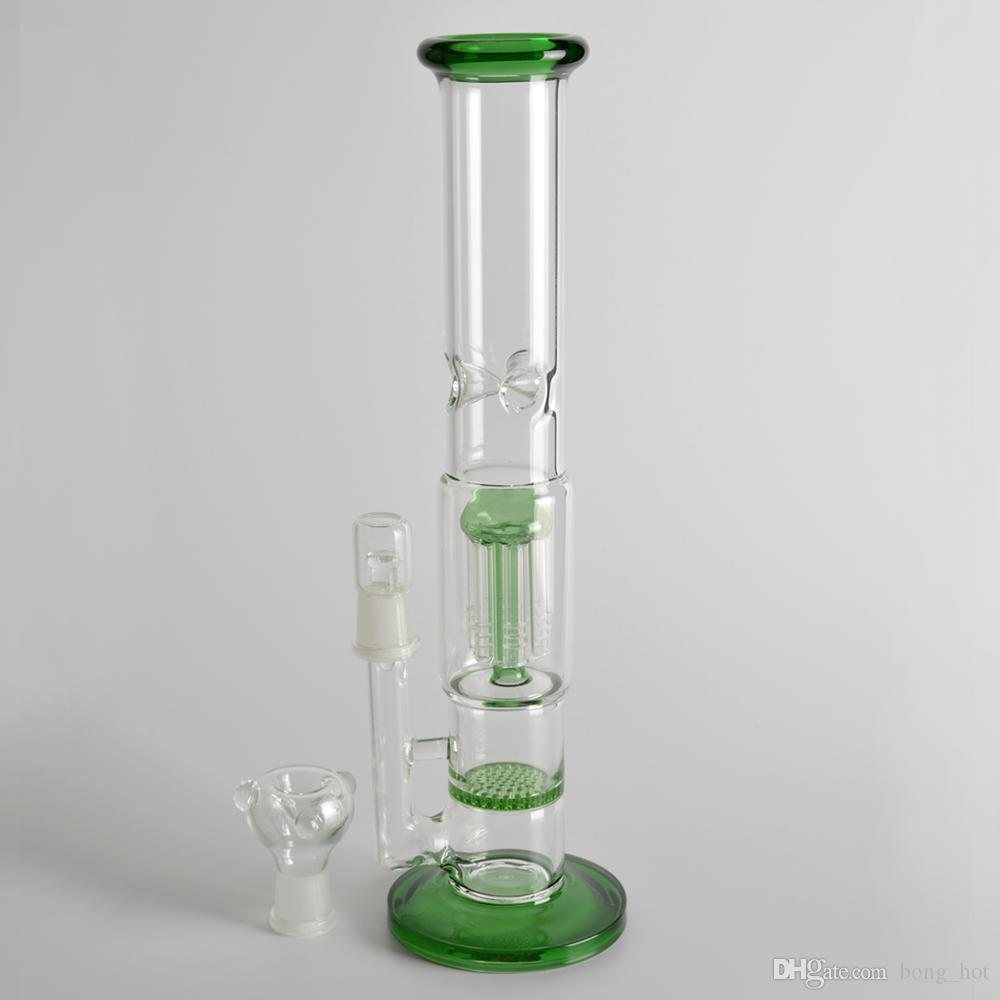 Water pipe glass bong glass water pipes for sale 12 inches water pipe with arm tree percolator and honeycomb three color pipes for smoking