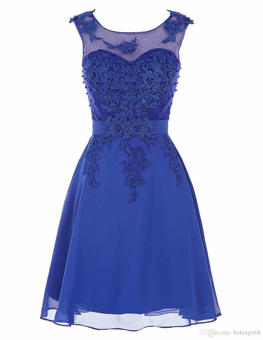 83388501d Compre Vestidos De Coctel Azules Mujeres Lindas 2016 Longitud De La Rodilla  Satén Corto Vestido De Fiesta Rebordear Encaje Vestidos Tallas Grandes  Mujeres ...