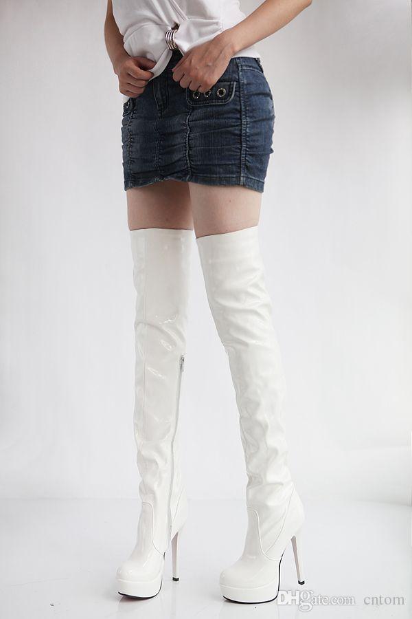 Stiefel aus Lackleder White over-the-Knie-Hochzeitsschuhe rote Braut plus Größe 40 41 42 High Heel 13CM Plattform 3CM EUR Größe 34-43