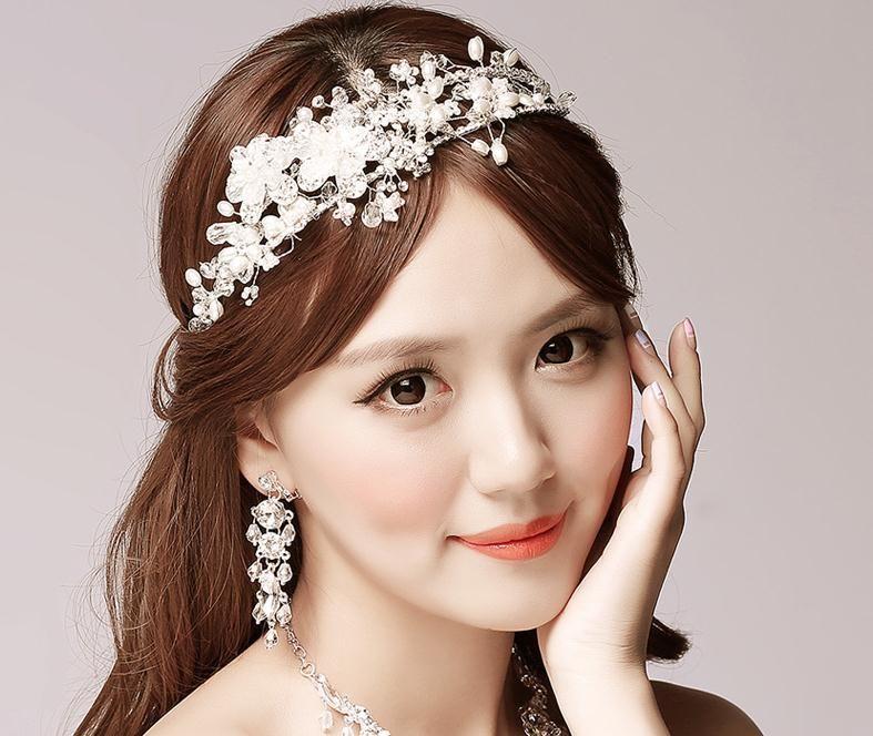 Bride Headdress Flower Hair Band Korean Handmade Pearl
