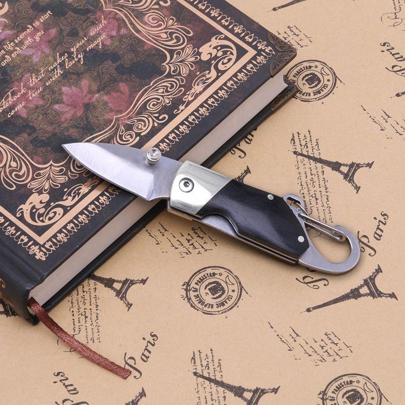 Mini Couteau Pliant ébène Poignée Porte-clés Poche Vintage Collection Sports De Plein Air En Plein Air Camping
