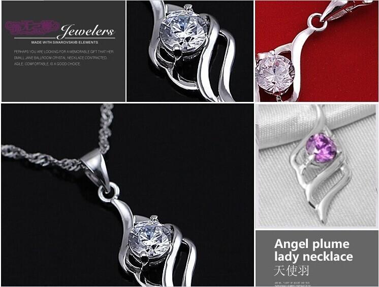 925 Sterling Silver Heart Pingente Colar Simples AndGenerous Pingente de Cristal Moda Na moda Estilo Coreano para Mulheres Senhoras Novo