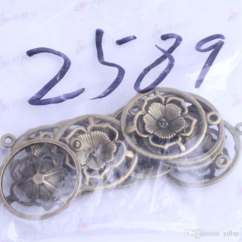 antiquité Pendentif fleur en argent / bronze fleuri Pendentif rétro Manufacture Pendentif en bijoux bricolage ajustement Collier ou bracelets charme / 2589