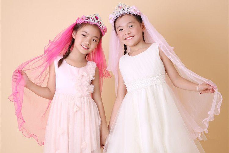 Novelty Children Girl Princess Bridal Lace Hairband Veil Crown Headband Party Wedding Festival Crown Hair Accessories
