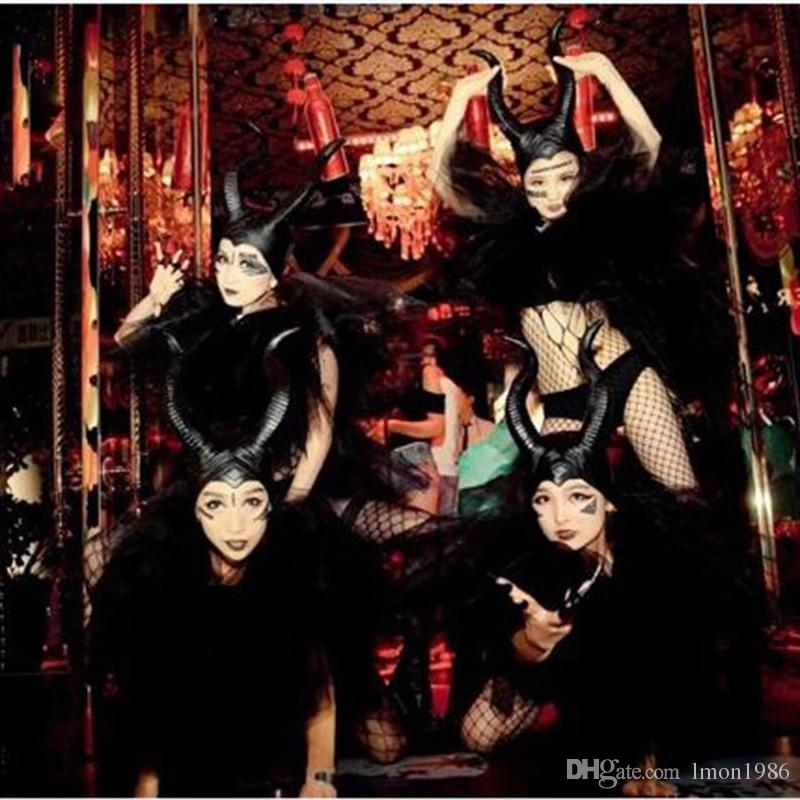 Mask Head Halloween Sleeping Demon Curse Dark Witch Cosplay Props Ox Horn Head A Hat Latex Cos Witch Costume Bar Singer Costume Film Props