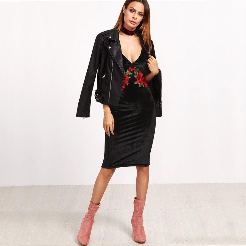 Vestidos de mulheres Sexy vestidos de veludo Club Floral Bodycon Dress V profundo Neck Black Bordados Rose Backless Spaghetti Stripe Cami Dress Clothes