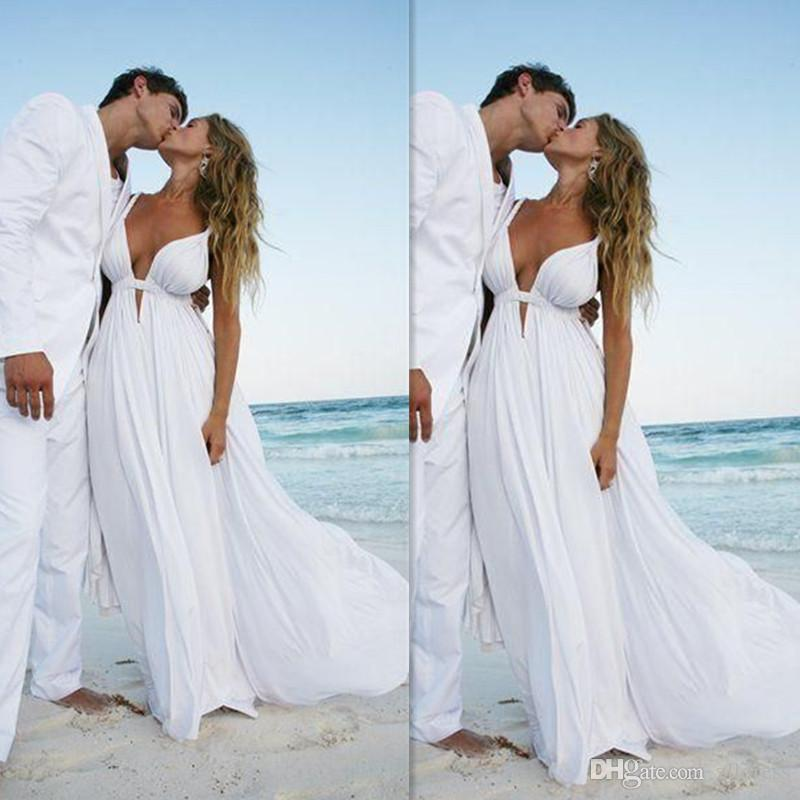 Beach Wedding Dresses 2016 White Chiffon Deep V Neck Sexy