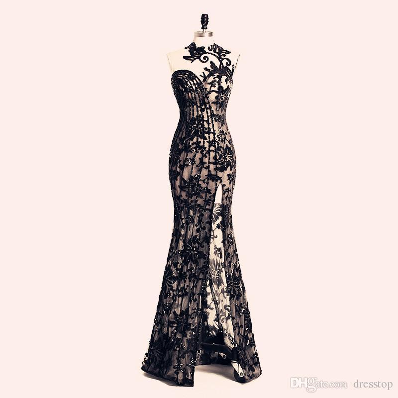 2019 elegante abalorios dividida vestidos de noche Rami Salamoun apliques cuello alto sirena lentejuelas largo vestido de fiesta Imágenes reales vestidos formales baratos