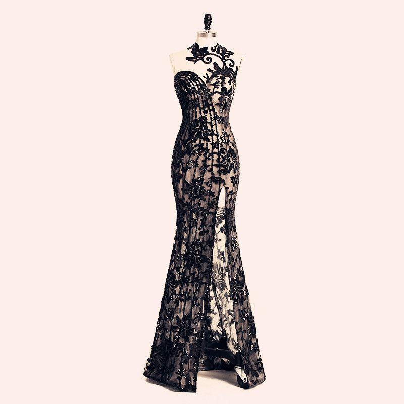 2019 eleganti abiti da sera perline Split Rami Salamoun Appliqued collo alto sirena paillettes abito da ballo lungo immagini reali economici abiti formali