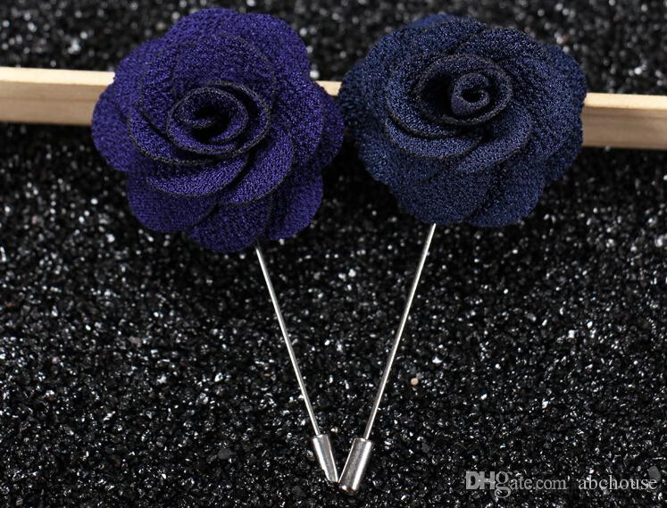 Высочайшее качество Отворотный цветок Человек Женщина Camellia Handmade Boutonniere Stick Брошь Булавки Мужские аксессуары в 22 цветах