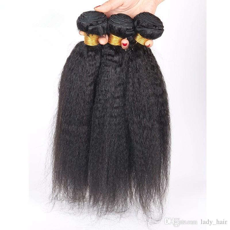 8A Brazilian Kinky Straight Hair With 4x4 Silk Base Closure Italian Coarse Yaki Silk Top Closure With Virgin Hair Weave Bundles