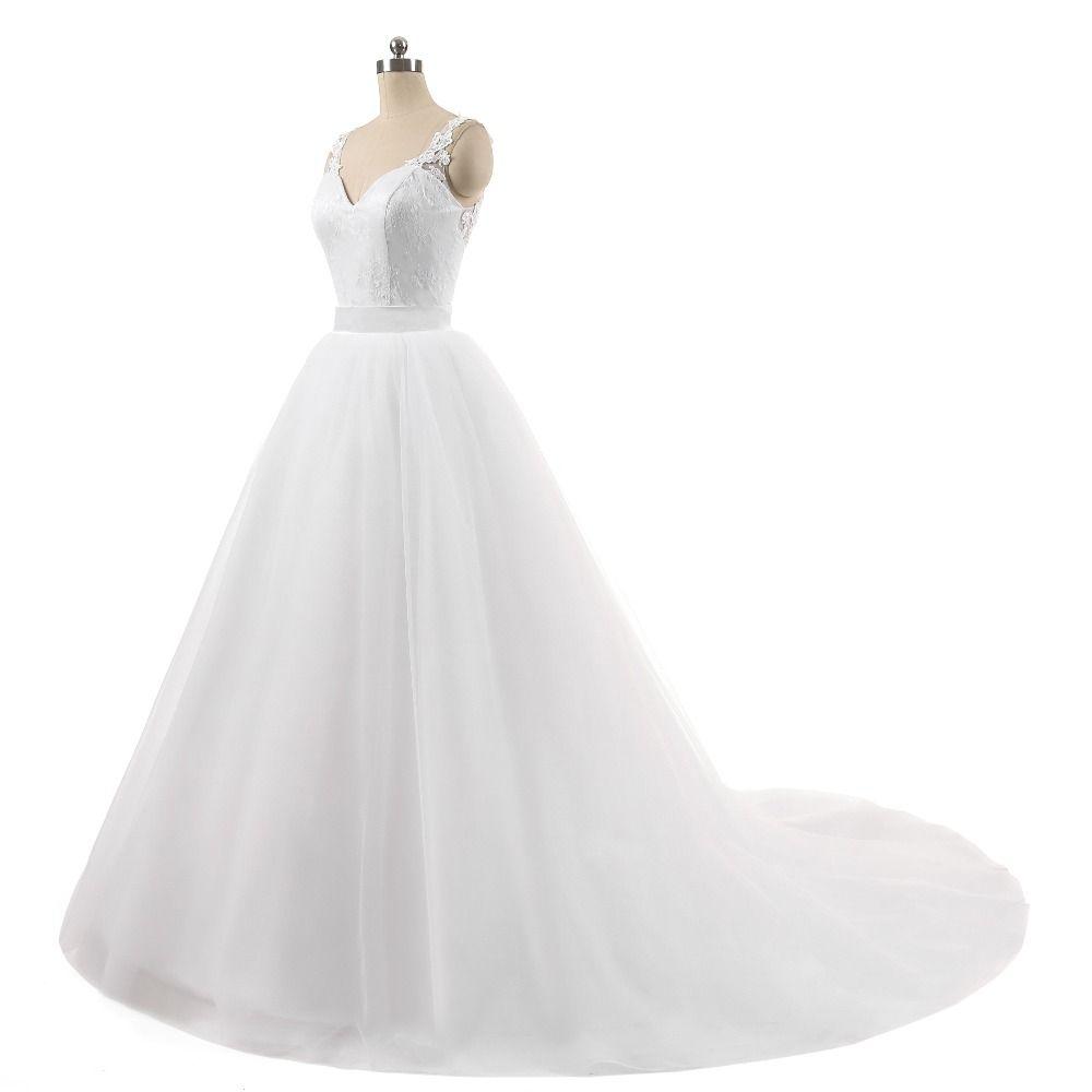 Spaghetti cinghie Abito da sposa Beautiful New Sleeveless Appliques Lace 2019 Nuovi arrivi Foto reali Telai vestido de noiva