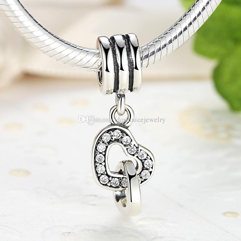 925 Sterling Silver Interlocking Love Hearts Silver Dangle Charms with Cubic Zirconia Pendant Beads for DIY Beaded Charm Bracelets S330