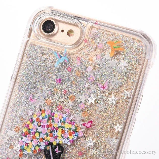 For Iphone 7 7G Iphone7 I7 6 6S Plus 4 4S 5 5S Quicksand Liquid Hard PC Case 3D Cartoon Star Run Flow Clear Glitter Girl Umbrella Skin Cover