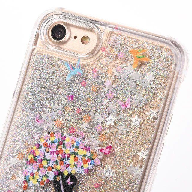 Quicksand Liquid Girl Star Hard PC Case For Iphone 7 7PLUS 7G 6 6S Plus 4 4G 4S SE 5 5S Dynamic Flow Clear Bling Glitter Umbrella Skin Cover