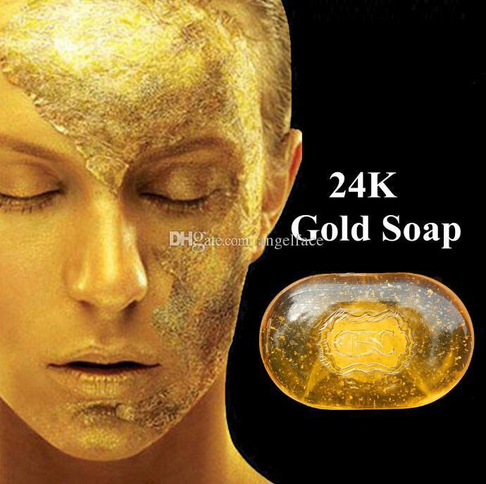 تنشيط إصلاح الجمال 24 كيلو الذهب الوجه تنظيف الصابون للعناية بالوجه تبييض البشرة اليدوية الصابون هدية قطرة الشحن