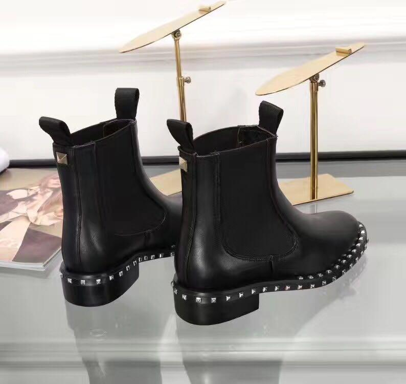 venda! Navio grátis! U753 40 preto couro genuíno esticar tornozelo flat short boots luxo designer moda vogue celeb escolhas