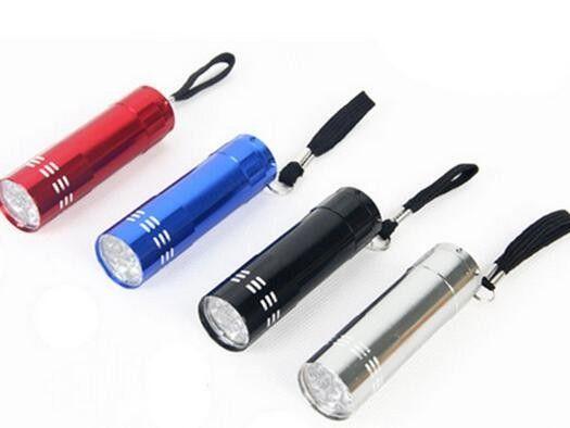 Mini 9 LED уф-гель лампа для отверждения без аккумулятора Портативная сушилка для ногтей светодиодный фонарик Детектор валюты Алюминиевый сплав
