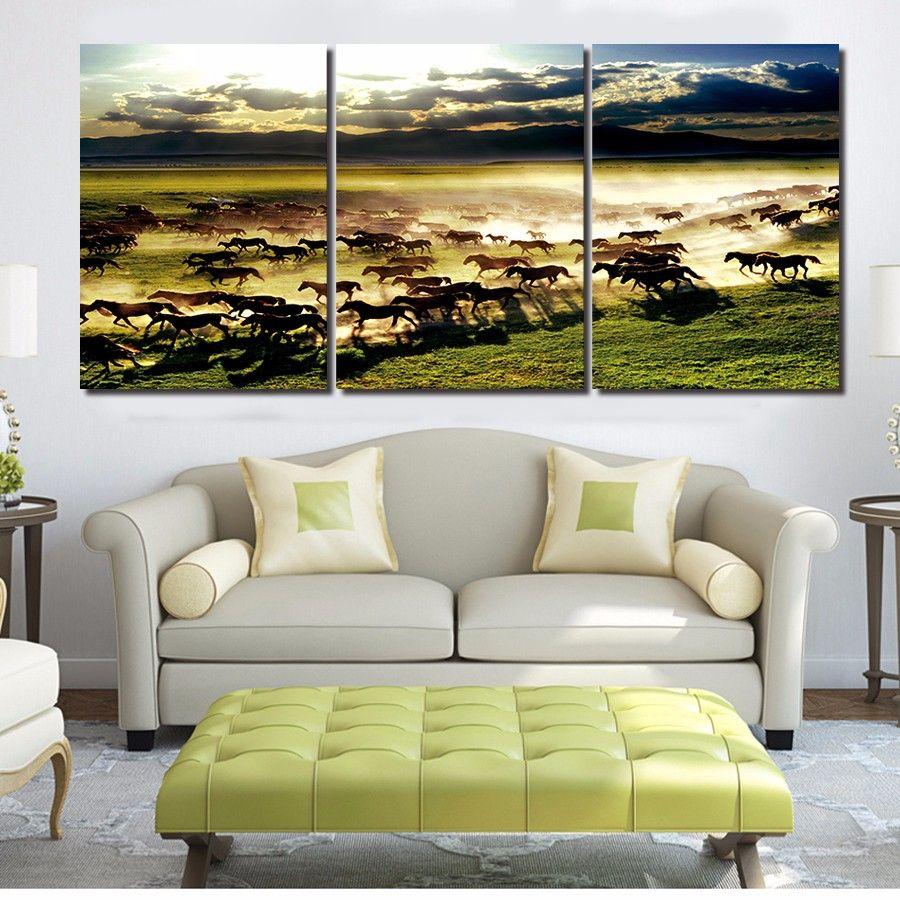 Современные лошади работает три панели фотографии красивый пейзаж для украшения дома HD холст картины без рамки бесплатная доставка