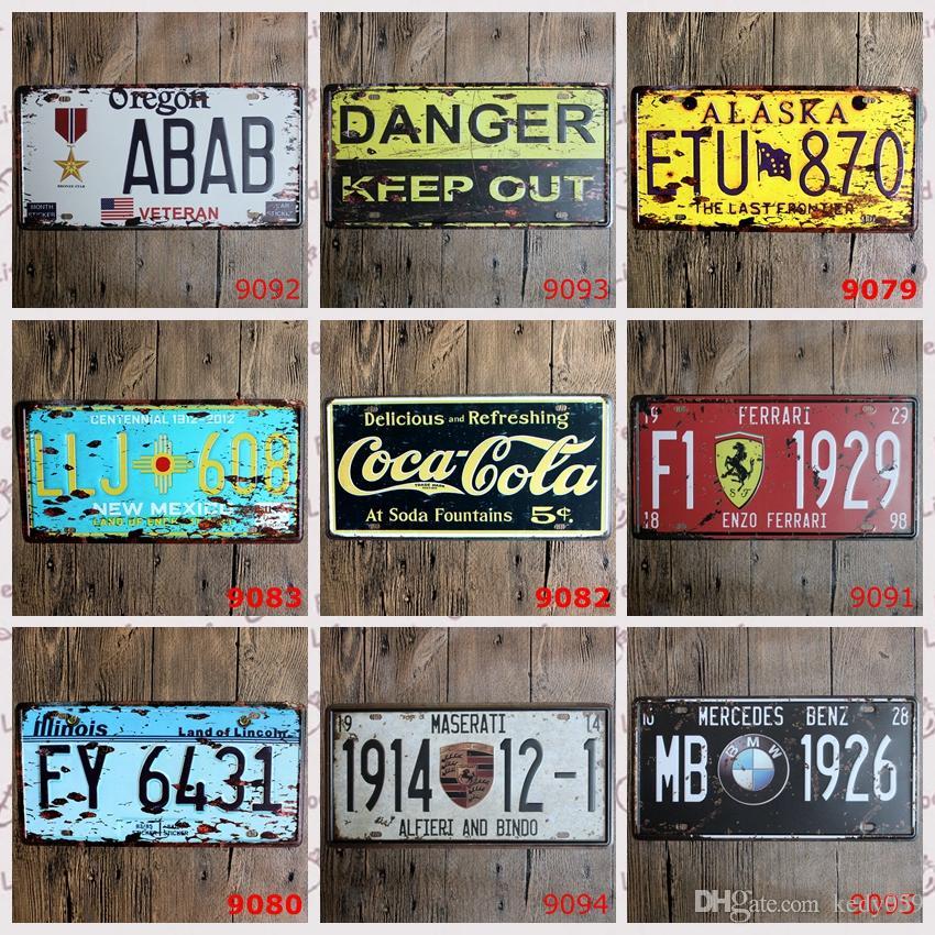 License Plates Retro Metal Tin Signs WARNING DANGER BRAND CAR Wall ...