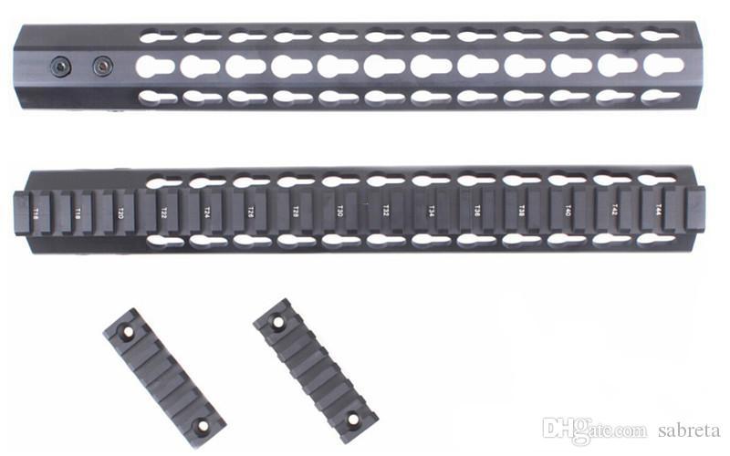 스틸 배럴 너트 분리형 레일에 맞는 범위 레이저 손전등 15 인치 슬림 KeyMod 무료 플로트 총열 덮개 장착